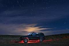 Cosmic Joyride (Fort Photo) Tags: road longexposure blue sky lightpainting nature car night skyscape stars landscape star evening nikon automobile colorado jeep 4x4 weld central trails off astrophotography transportation co astronomy cherokee prairie plains suv grassland grasslands neco csp d300 pawnee noco ohv shortgrass