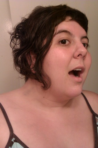 A picture of me with my hickey covered with make-up.