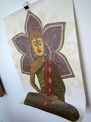 Sitting Buddha 11x14 print on thick Canvas Material (valentinadesign) Tags: flowers original green art colors yellow digital print buddha buddhist religion mandala canvas meditation doodles 11x14