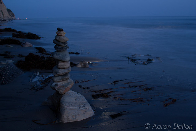 Cairn on Beach at Night