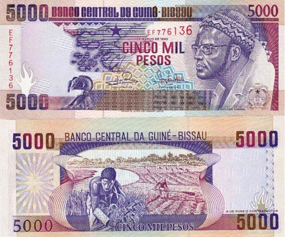 5000 Pesos Guinea Bissau 1990-93, Pick 14