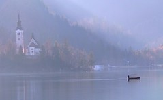 Lake Bled ~ Slovenia #dailyshoot #churches #lake (Leshaines123) Tags: morning mist lake colour castle water fog les clouds island boat day haines crystal calm explore slovenia bled facebook glacial twitter dailyshoot anawesomeshot vividandstriking leshaines leshainesimages