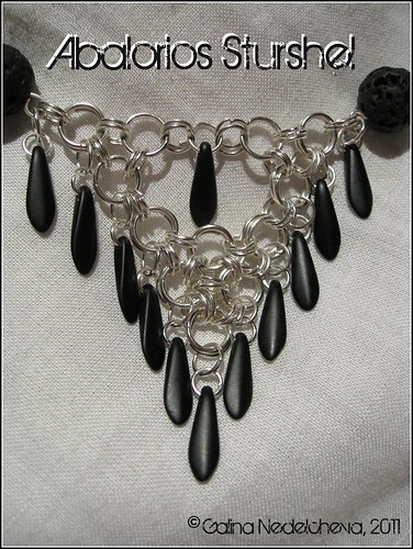 Collar Anillas Dagas Lava & Cuero