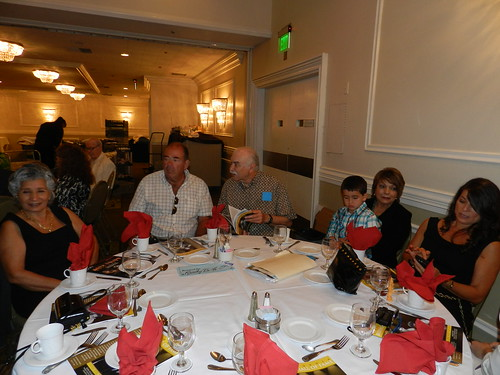 The Burke table: Maria and Roger Esty, Ed Hernandez, Vincente Burke (Louie's son), Elba Burke and Shelly Burkea