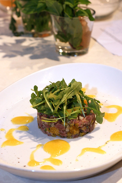 Tuna Tartare with Rucola Salad and Orange Saffron Sauce