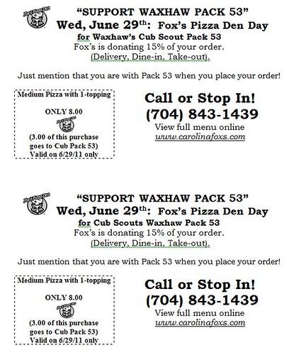 Fox's Pizza Pack 53 Fundraiser flyer