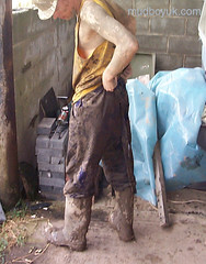 filthy boots (MudboyUK) Tags: man guy mud boots dirty overalls worker filthy wellies muddy bootsmudfetish