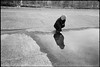 crouched over a big puddle (gorbot.) Tags: sunset blackandwhite bw reflection water puddle harbour rangefinder ayr f4 roberta leicam6 mmount autaut ltmmount voigtlander21mmcolorskoparf4