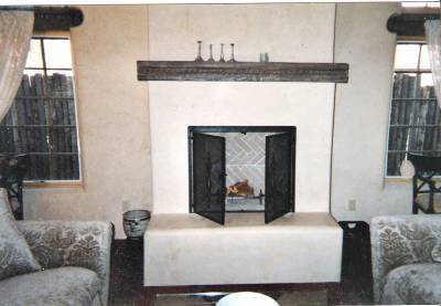 Kiva fireplace front made with glass or screen 001
