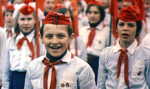 Young Soviet Pioneers on Red Square during a May Day demonstration, Moscow, 1977. Courtesy of Red Square Productions