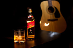 Guys Night In - a little scotch & guitar (NJRC) Tags: red canon 50mm guitar 14 whiskey walker acoustic scotch johnnie xsi
