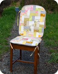 New Cushions for Mom's Rocking Chair (TinyApartmentCrafts) Tags: yellow grey chair quilt linen cushion zigzag amybutler neutral midwestmodern freshquilting tinyapartmentcrafts