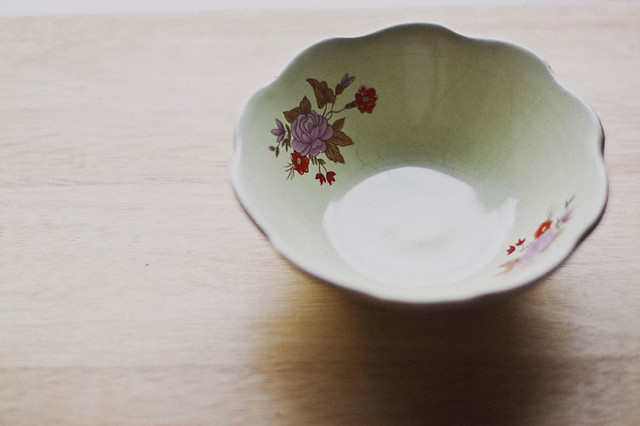 antique bowl with floral print