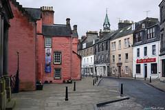 Abbot Street & Maygate, Dunfermline, Fife (SwaloPhoto) Tags: pink urban streets clock scotland fife dunfermline citychambers maygate heritagecentre abbotstreet abbothouse panasonicdmcgf1 panasoniclumix20mmf17pancakelens davidgraysalons