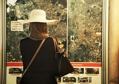 ".. (""Anwaar) Tags: woman girl hat lady train canon underground alone photographer mark muslim ii malaysia daisy 5d lonely kuwait traveling kuwaiti anwar anwaar"
