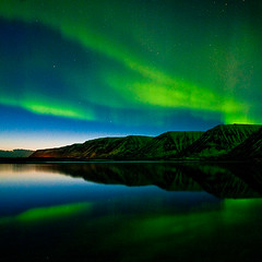 Aurora in Iceland (jovinsson) Tags: longexposure winter sunset sea sky mountain cold green nature beautiful night star iceland aurora northernlights westfjords nundarfjrur flateyri jovinsson eyrjvinsson