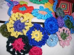 flower power crochet necklace (EyecatchersNZ) Tags: crochet craft crocheting eyecatchers crochetflowers woolflowers windinthewillow
