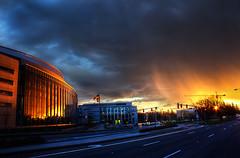 Raining Fire (Philerooski) Tags: street sunset rain basketball oregon town university stadium eugene flare fo dazzle hdr razzle bedazzle nazle shazle wowzle