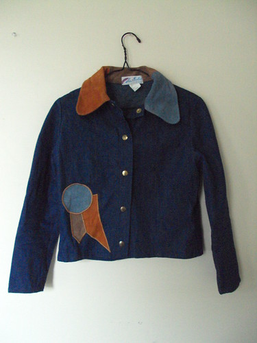 Vintage Denim Jacket with Leather Detail