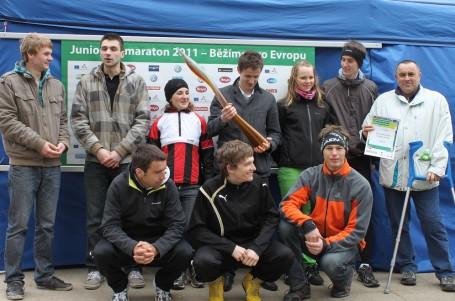 Vítězné družstvo běžců jihomoravského semifinále Juniorského maratonu