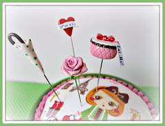 I love paris in the springtime pincushion and pin topper set (Pinks & Needles (used to be Gigi & Big Red)) Tags: sculpture paris rose tattoo glitter shopping shoes heart girly banner tights polkadots purse parasol eatme handpainted kawaii quilted blythe pincushion etsy trim pompoms sculpted unbrella hatbox eiffletower boxofchocolates japanesefabric gigiminor pinksandneedles pintopper pinksandgreen