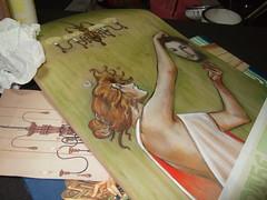 DSCF6035 (TheDarlingMissM) Tags: atlanta painting artwork acrylic deck absinthe oil skateboard sk8ordie little5points robette progressshot youngbloodgallery celvinyl