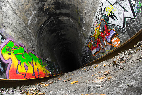 A Train Tunnel and a Broken Shutter