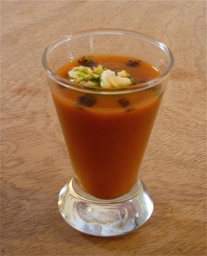 roasted tomato and fennel soup in shot glass