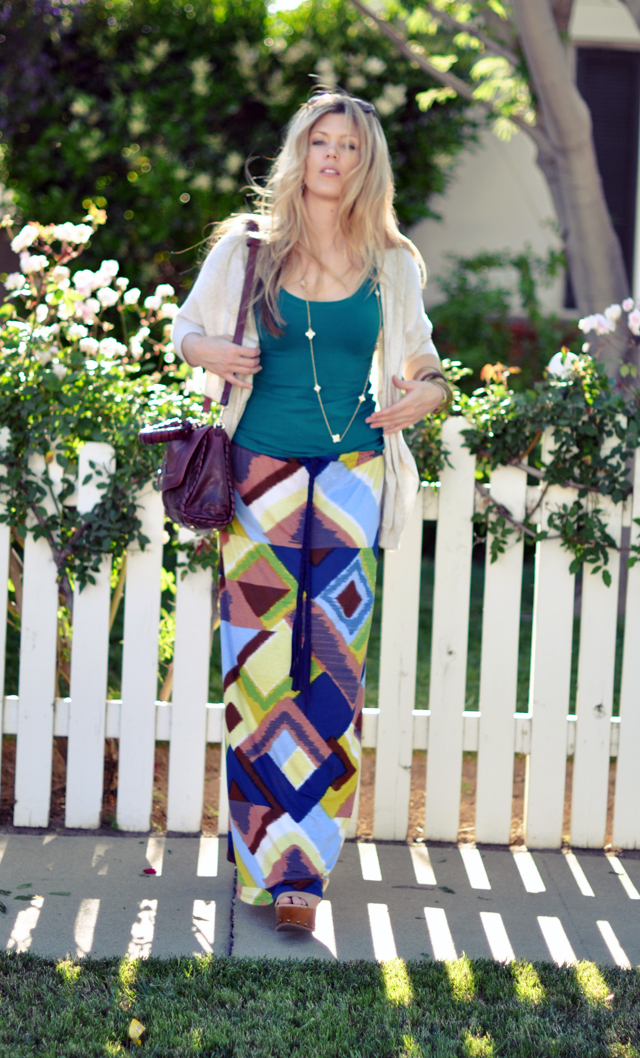 maxi skirt and cardigan wedges
