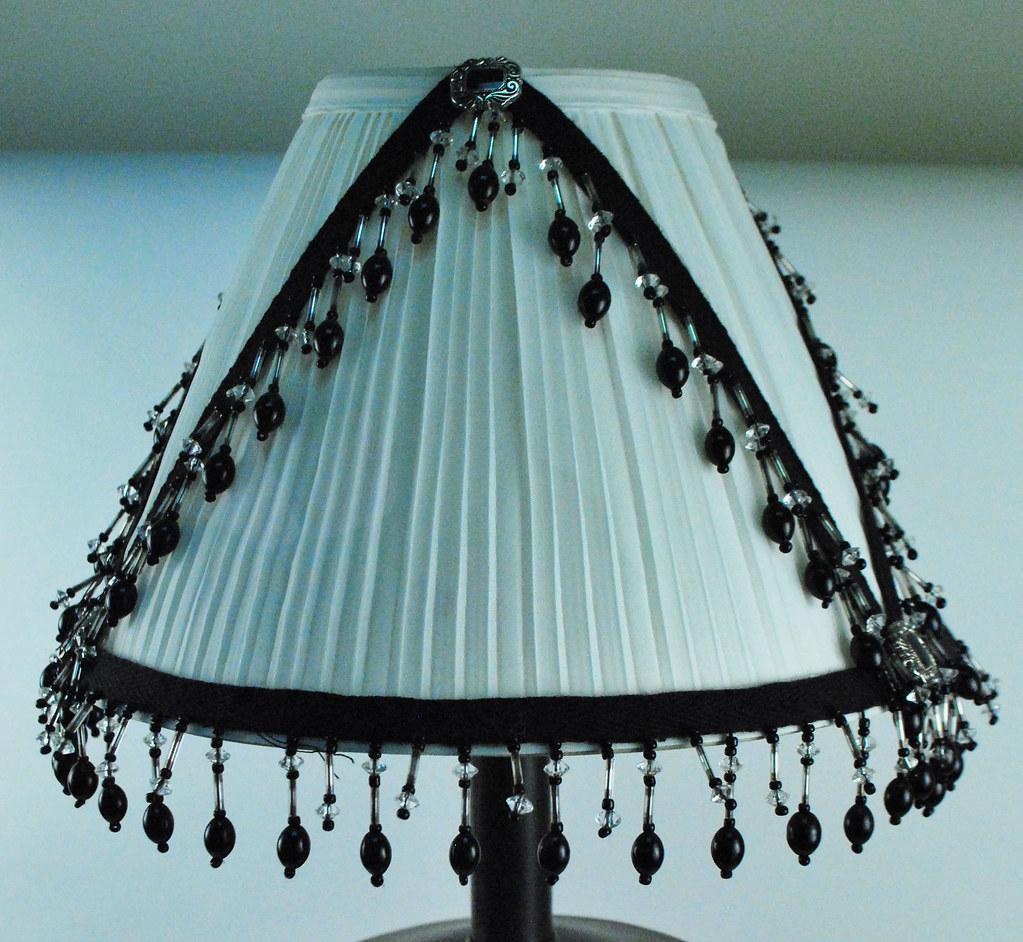 Elegant lamp with beaded trims