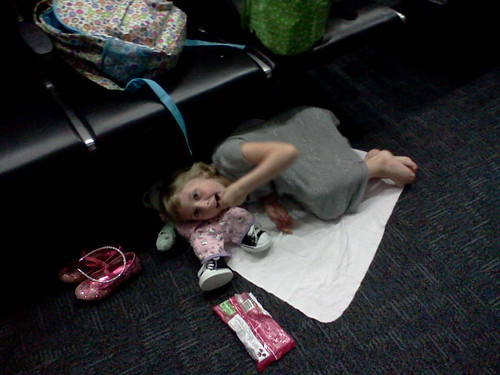 Annalie in her nest at the airport