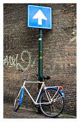 Blue & white (leo.roos) Tags: bicycle sign minolta oneway 12 trafficsign bluewhite verkeersbord rokkor a900 aprilfoolishness darosa mcrokkor5812 convertedtoamount leoroos