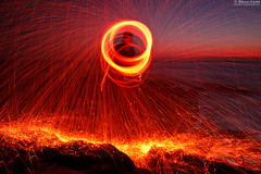 Beltane Fire (.Brian Kerr Photography.) Tags: light sunset seascape canon landscape fire lights rocks cumbria spinning whitehaven parton beltane wirewool eos5dmkii briankerrphotography