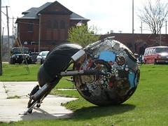 Recycling Art Beetle (mo_metalart) Tags: earthday ecofestival recyclingart moart dungbeetlesculpture schoolartproject tireart mirkosiakkouflodin usaart mometalart ecobeetle