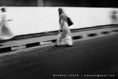 Prisoners of Illusion II (Kamrul - Hasan) Tags: street bw woman monochrome lady speed veil working busy dhaka bangladesh