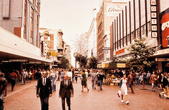Rundle Mall, 1970's (baytram366) Tags: colour fashion vintage mall shopping 1974 centre slide scan retro shops adelaide cbd harris slides 1980s southaustralia iconic woolworths scarfe rundle c1980 picapak