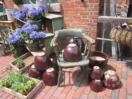 the new location of the vintage gardener in the disillery district and clay pot displays for sale the week before mothers day.