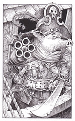 Pirate Pig - The bad guys who pursue our hero and heroine are led by an evil pig. No he really is an Evil Pig! We see him here, aiming his multi-barreled pistol during the course of a battle in the sky.