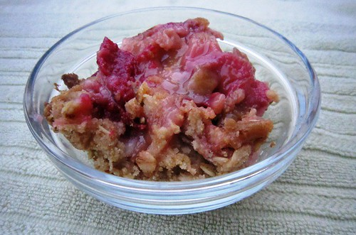 A bowl of rhubarb crisp, take five