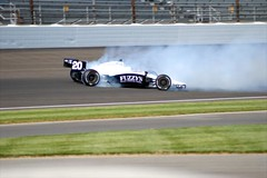Patrick Carpentier wrecks during Bump Day practice (IndyCar Series) Tags: camera speed nikon length mode rating ims indy500 indycar izod indianapolis500 indianapolismotorspeedway patrickcarpentier 210010 5focal 4810iso 1010000fnumber d200exposure 280metering