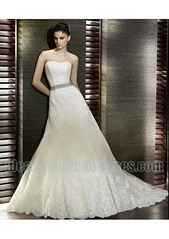 Organza Lace Strapless Straight Neckline A Line in Chapel Train Applique Custom Made Cheap 2011 Bridal Dress WD-0546