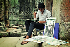 Angkor artist (ital_vita) Tags: travel boy portrait people brown man color building green art broken boys colors beauty face mystery portraits work canon buildings wonderful painting paper geotagged asian temple eos amazing hands rust energy asia cambodia paint paradise artist khmer power god buddha decoration picture rusty angkorwat line holy master serenity heads siem planet gods meditation angkor wat hindu budda buddism riep apsara paints indochina ruines 550d eos550d italvita rebelt2i