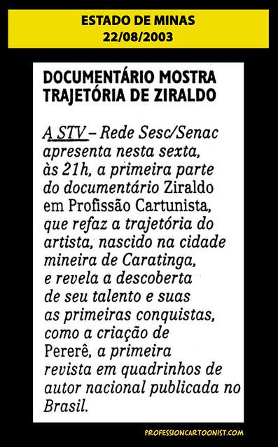 """""""Documentário mostra trajetória de Ziraldo"""" - Estado de Minas - 22/08/2003"""