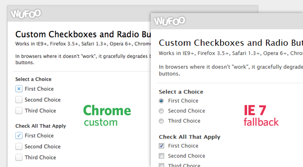 Custom Checkbox / Radio Button Comparison
