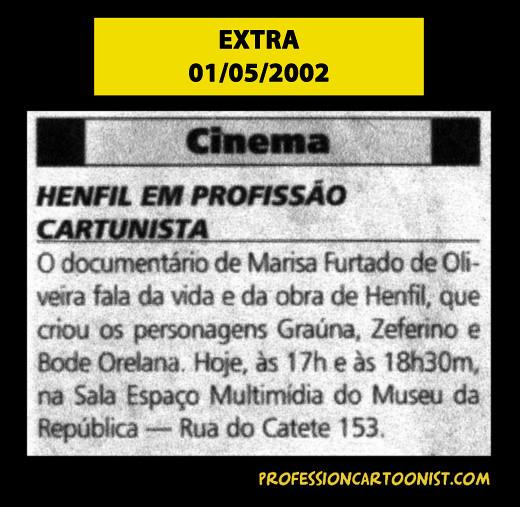 """""""Henfil em Profissão Cartunista"""" - Extra - 01/05/2002"""