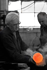 Glass blower (B.Jansma) Tags: bw white man black hot male netherlands glass canon glasses warm glow tour nederland steam round pro vase expensive bol job zwart wit making creating kristal werk bril selective gloed blower zw vaas rond stoom concentrated 500d leerdam heet rondleiding duur geconcentreerd glasblazer glasfabriek selectief