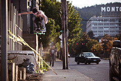 Casey Morrow (Dabe Alan | www.dabealan.com) Tags: street city oregon portland casey ramp nw or rip ollie tape skate caution skateboard kicker morrow
