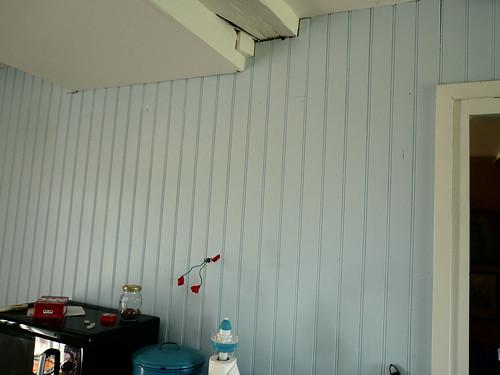 blue lambris wall