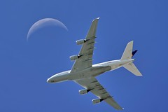 Lufthansa A380 (mvonraesfeld) Tags: sanfrancisco travel moon airport aircraft flight explore international airbus a380 lufthansa airliner ksfo a380800 daimb