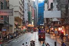 HK Day One-4 (Stephen Kruso) Tags: china street hk wet hongkong construction trolley taxi tram busstop crosswalk redlight deployment